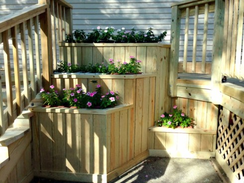 Wood Deck, Wood Rails, Wood Balusters and Planters by Archadeck
