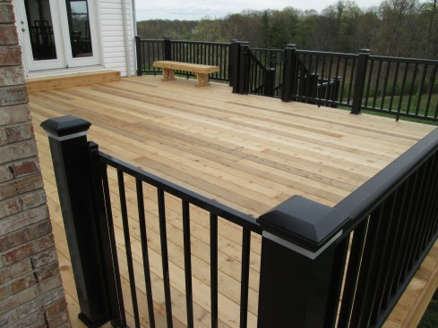 Natural Cedar Wood Deck with Low Maintenance Rails and Built-in Deck Lights, St. Louis Mo, by Archadeck