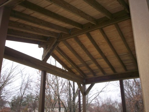 Covered Deck with Vaulted Roof and Exposed Rafters, St. Louis Mo, by Archadeck
