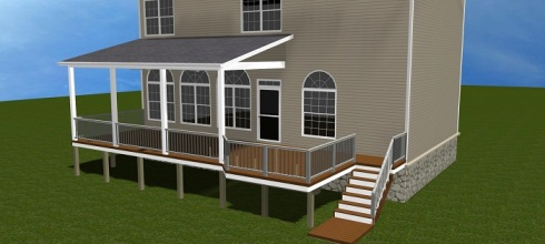 Deck with Shed Roof and Wall Tie-in, Renderings by Archadeck