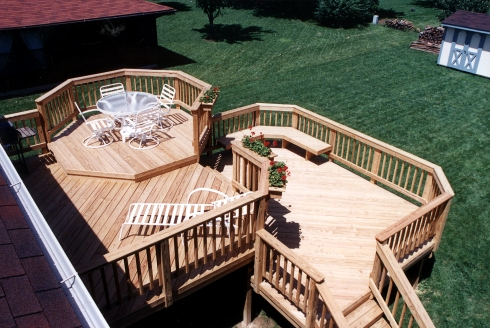 Large Wood Deck with Separate Tiers for Dining, Relaxing and More, Designed and Built by Archadeck