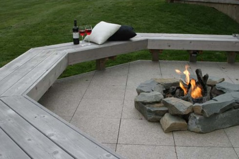 Small Patio with Benches and Fire Pit, by Archadeck