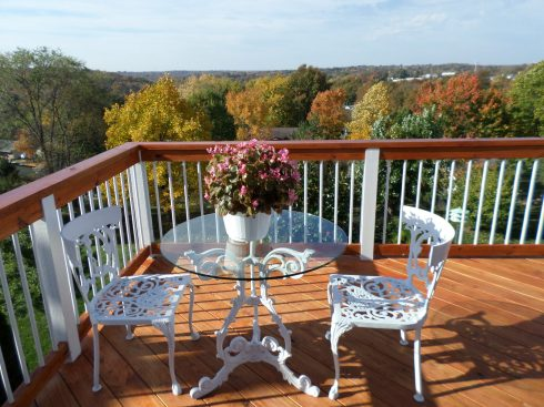 Wood Deck with White Rail Balusters and White Wrought Iron Furniture, Deck by Archadeck of West County, St. Louis Mo