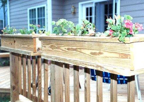 Built In Planter Boxes Atop Deck Rail, Project by Archadeck
