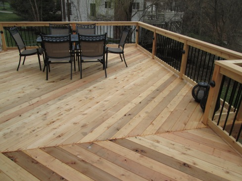 Cedar Deck and Rails with Metal Balusters, Accent Lights and Diagonal Floor Board Pattern, St. Louis, Mo by Archadeck