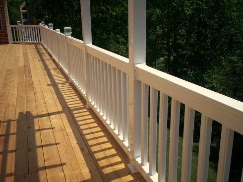 Cedar Deck with White Vinyl Rails and Lighting in Chesterfield Mo, by Archadeck in St. Louis