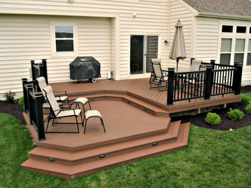 Deck with Step Riser Lights and Railing Lights by Archadeck
