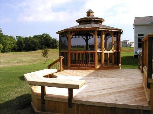 Multilevel Cedar Deck and Gazebo, Partial Deck Rails and Corner Bench in Lieu of Rails, by Archadeck