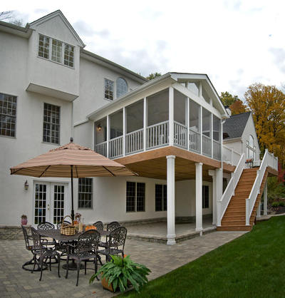 Screened In Upper Deck with Gable Roof, Under Deck Covered Patio, Project by Archadeck