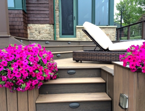 Composite Deck with Built-In Planters and Deck Lighting, Project by Archadeck
