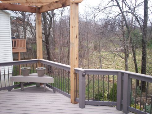 Corner Wood Pergola for Gray Composite Deck, by Archadeck in St. Louis Mo