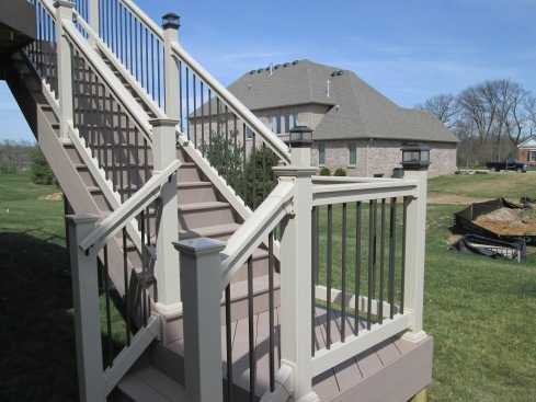 Deck Steps with Lantern Post Lights, Project by Archadeck in St. Louis Mo