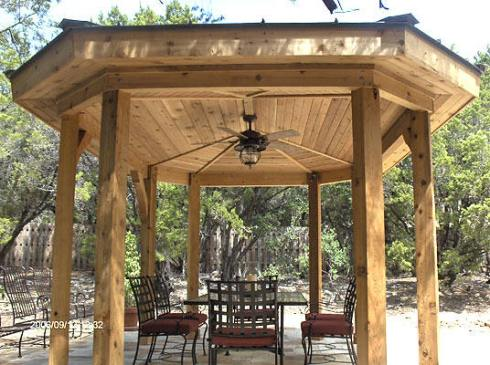 Free Standing Open Gazebo with Enclosed Rafters, Ceiling Fan and Lighting by Archadeck