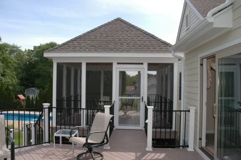Screened-in Square Deck Gazebo with Kitchen Access, Project by Archadeck