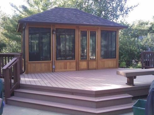 Square Screened Gazebo on a Deck by Archadeck