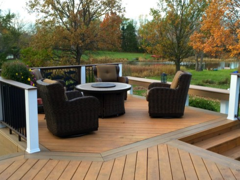 Wood Deck with Dark Stain and Composite Trim and Rails, by Archadeck