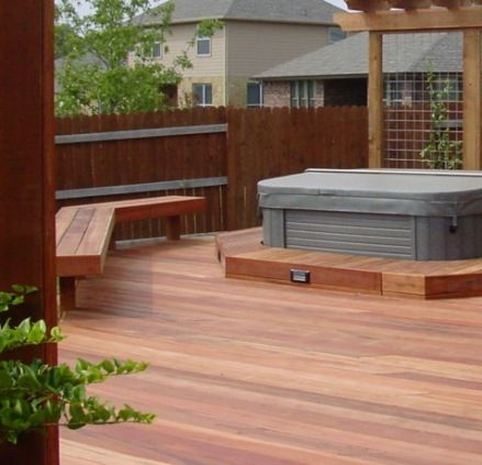 Hot Tub Deck with Privacy Wall, Built-in Bench and Wire Trellis by Archadeck