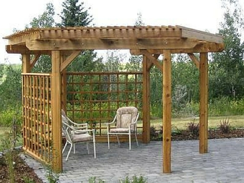 Wooden and Lattice Patio Cover by Archadeck