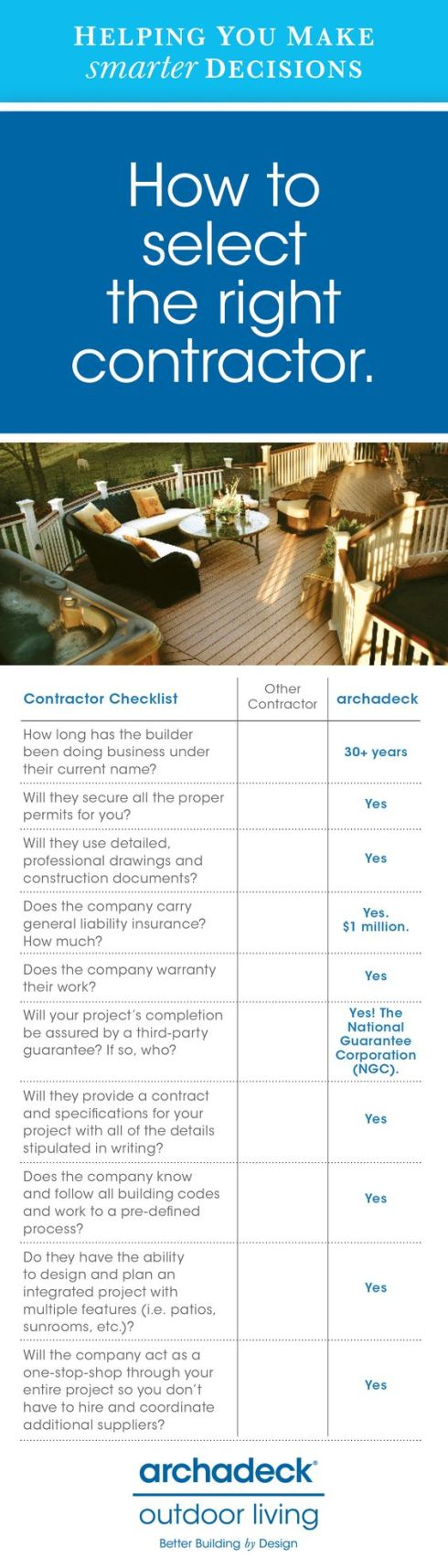 How To Select The Right Contractor by Archadeck