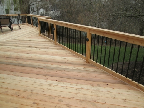 Cedar Deck, Cedar Deck Rails, Metal Balusters, Project by Archadeck of West County