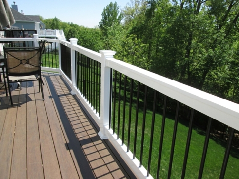 Low Maintenance Deck with White Rails and Black Balusters, St. Louis Mo, by Archadeck