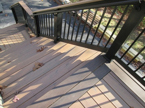 Low Maintenance Two Tone Deck with Black Railing, St. Louis West County, by Archadeck
