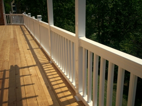 Natural Cedar Deck with White Vinyl Rails, Chesterfield, Mo by Archadeck